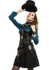 beautiful steampunk woman isolated.
