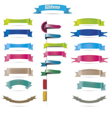 Collection of colorful ribbons, isolated, illustration