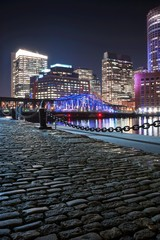 Boston Harbor and Financial District at night