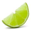 Citrus lime fruit segment isolated on white background cutout