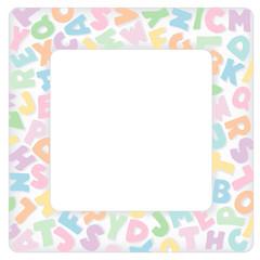 Alphabet Frame, pastel tint multicolor letter border, copy space