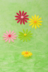 Spring background. Flowers on green sisal background.