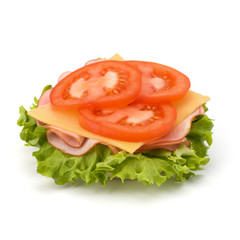 Healthy open sandwich with lettuce, tomato, smoked ham and chees
