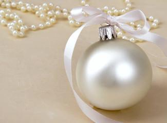 Christmas ball and beads.