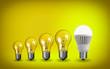 Row of light bulbs.Idea concept on yellow background.