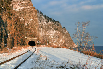 Tunnel on Circum-Baikal railway in November
