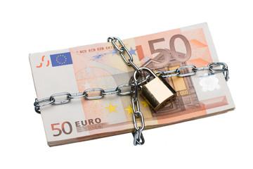 Metallic Chain And Padlock Around Euro Bundle