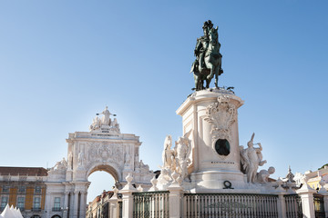 Statue Of King Jose I And Rua Augusta Arch
