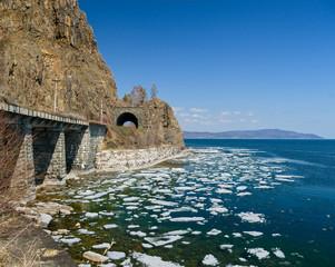 Spring on Circum-Baikal Railway on cape Baklany