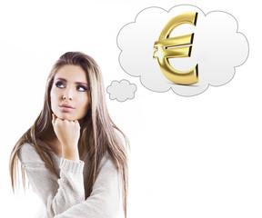 Ragazza pensierosa euro