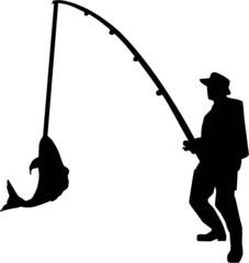 Fishing Silhouette Man Rod