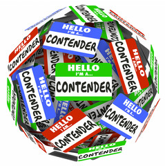 Contender Word Name Badge Tag Sphere Compete Job WIn Game