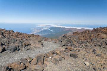 Roads and rocky lava of volcano Teide. Tenerife