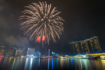 Fireworks over Marina Bay