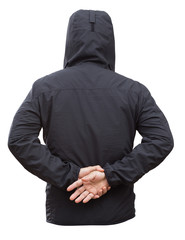 Black jacket with hood and man hands isolated on white backgroun