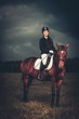 Beautiful girl sitting on a horse outdoors against moody sky
