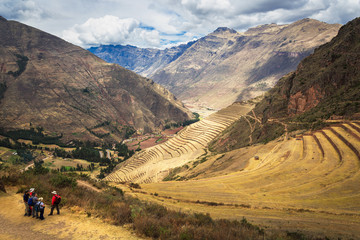 Peru, Pisac - Inca ruins in the sacred valley in the Peruvian An