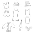Sketches of women's clothing isolated.