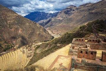 Peru, Pisac - Inca ruins in the sacred valley in the Peruvian An