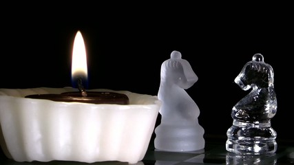 Candles and Chess made by Glass