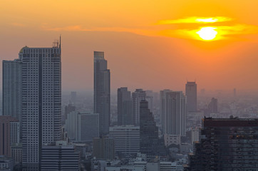 Bangkok cityscape at sunset, thailand