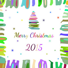 Abstract Christmas tree in the frame with numbers 2015