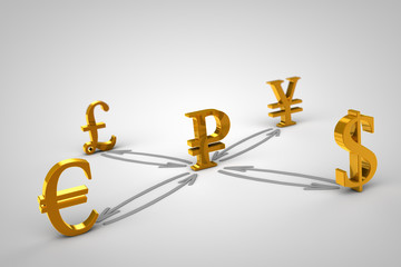 Golden Currency signs. Ruble