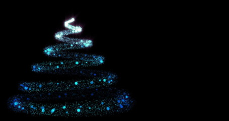 Glowing particles with trail forming christmas tree 4K