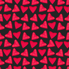 Texture of pink hearts, seamless repeating pattern.