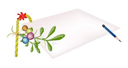 Mistletoe and Candy Cane on Blank Page