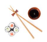 Fototapety Sushi set, chopsticks and soy sauce