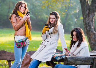 Beautiful young women in the park using cell phones