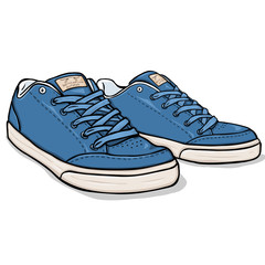 Vector Cartoon Blue Skaters Shoes