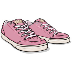 Vector Cartoon Pink Skaters Shoes
