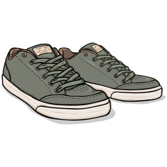 Vector Cartoon Khaki Skaters Shoes