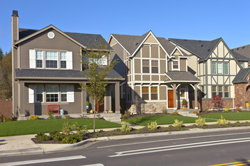 Row of new homes in Willsonville Oregon.