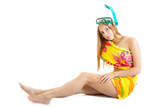 blonde lass wearing a bright pareo with snorkel and mask poster