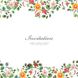 invitation card with cute flowers for your design - 72804492