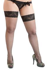 Seductive female legs wearing black stockings and underwear