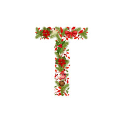 christmas floral tree letter T