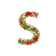 christmas floral tree letter S