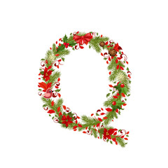 christmas floral tree letter Q