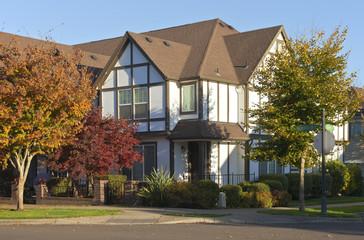 Large house on a corner street Willsonville Oregon.