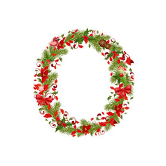 christmas floral tree letter O