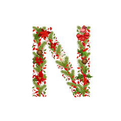 christmas floral tree letter N