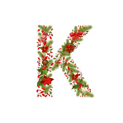 christmas floral tree letter K