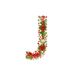 christmas floral tree letter J