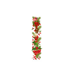 christmas floral tree letter I