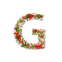 christmas floral tree letter G