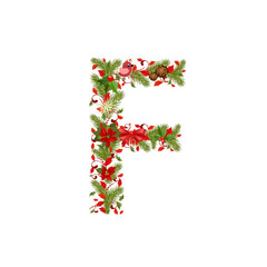 christmas floral tree letter F